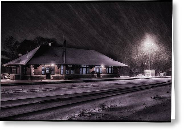 Winter Train Station  Greeting Card