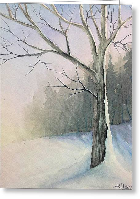 Greeting Card featuring the painting Winter Tree by Rebecca Davis