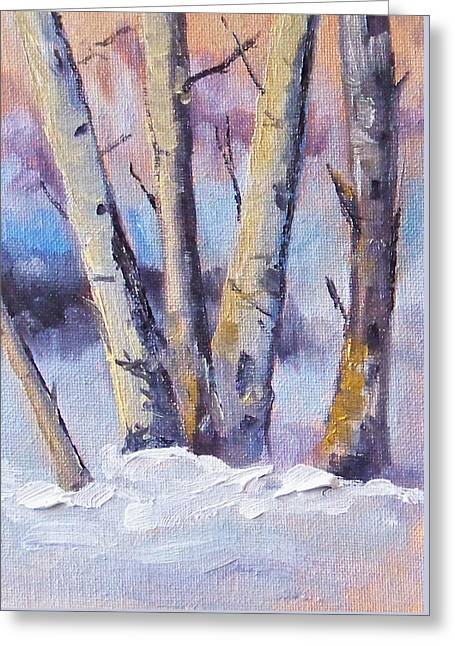 Winter Trees Greeting Card by Nancy Merkle