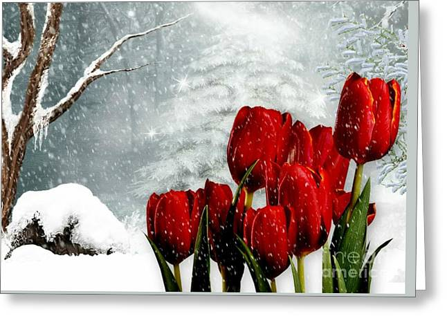 Greeting Card featuring the mixed media Winter Tulips by Morag Bates