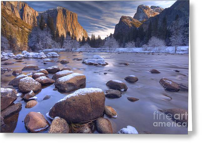 Winter Valley Wonderland Greeting Card by Marco Crupi
