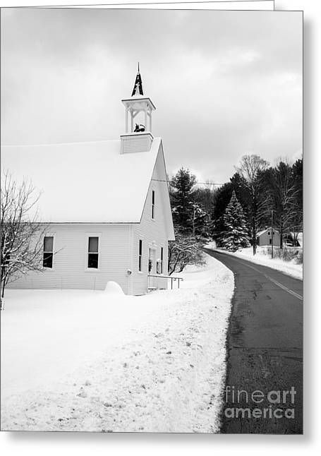 Winter Vermont Church Greeting Card by Edward Fielding