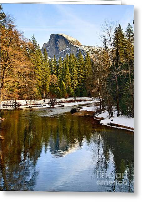 Winter View Of Half Dome In Yosemite National Park. Greeting Card