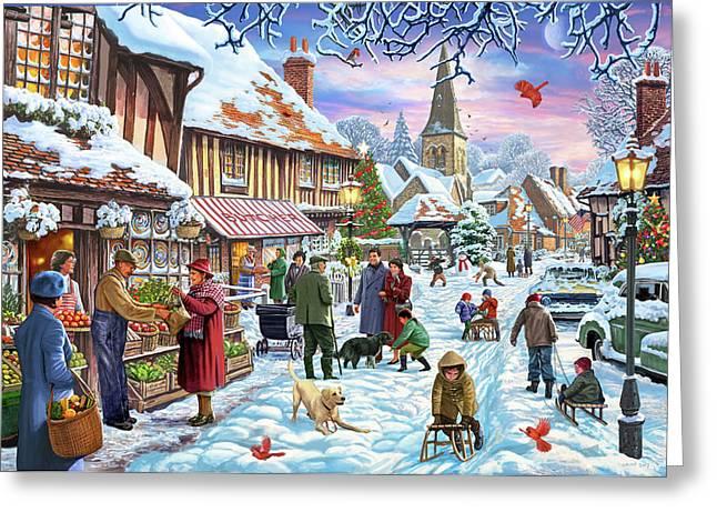 Winter Village Usa Greeting Card
