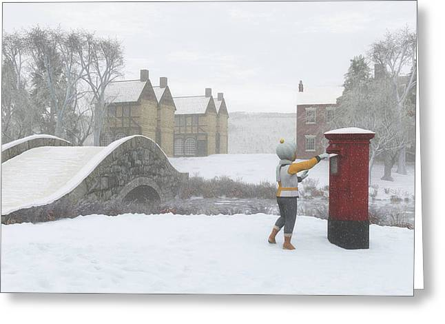 Winter Village With Postbox Greeting Card by Jayne Wilson