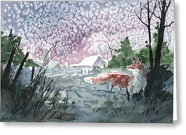 Greeting Card featuring the painting Winter Visitor by Sean Seal