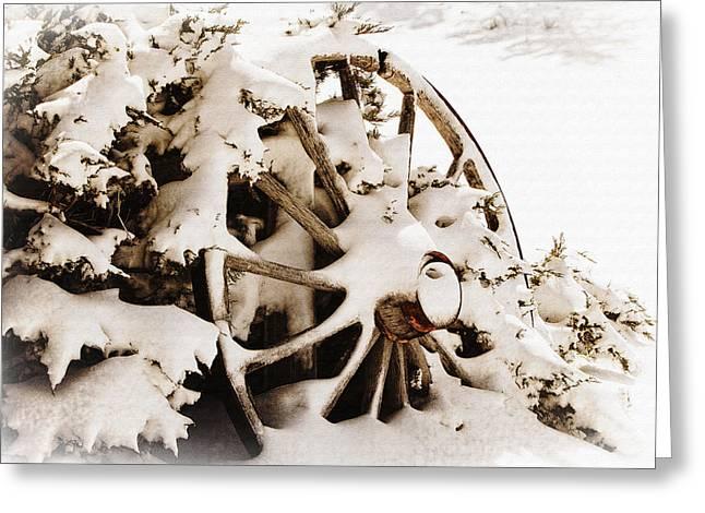 Winter Wagon Wheel Greeting Card