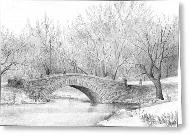 Winter Walk Greeting Card by Diane Cardaci