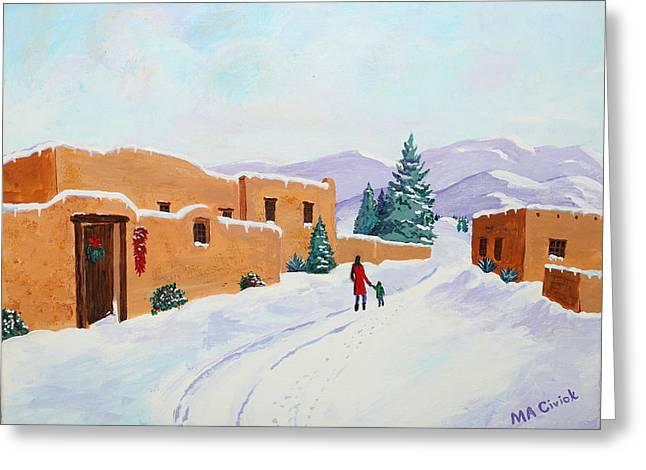 Winter Walk Greeting Card by Mary Anne Civiok
