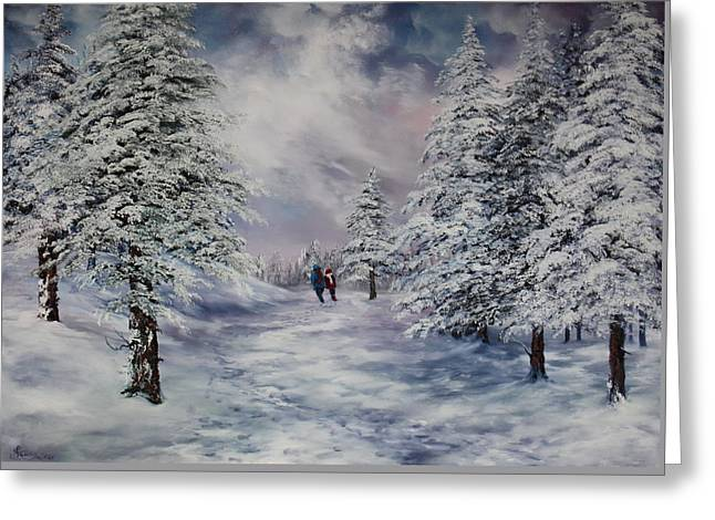 Greeting Card featuring the painting Winter Walk On Cannock Chase by Jean Walker