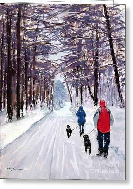 Winter Walk Greeting Card by Shelley Koopmann