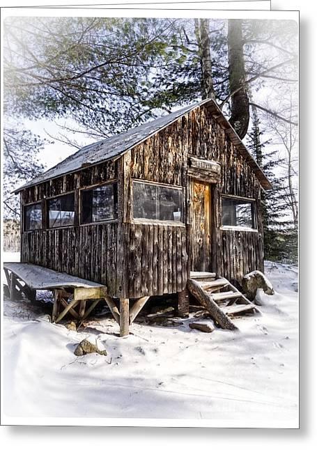 Winter Warming Hut Greeting Card by Edward Fielding
