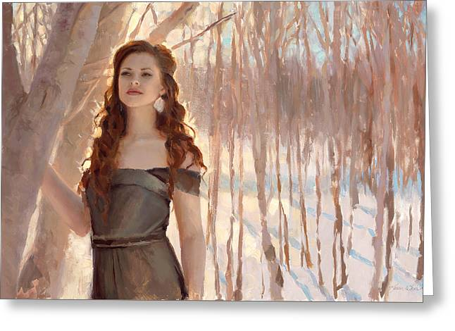 Winter Warmth - Figure In The Landscape Greeting Card