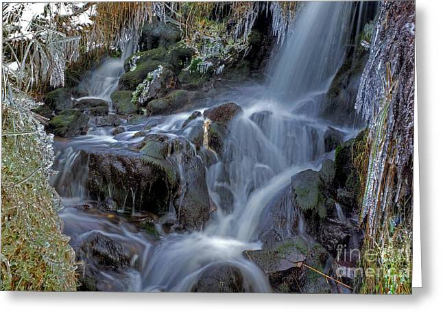 Winter Waterfall In Goyt Valley Greeting Card by David Birchall