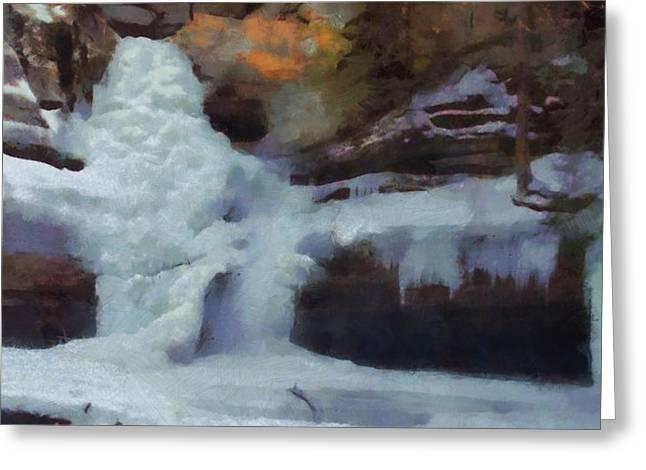 Winter Waterfalls Greeting Card by Dan Sproul