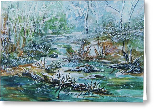 Greeting Card featuring the painting Winter Whispers On Catskill Creek by Ellen Levinson
