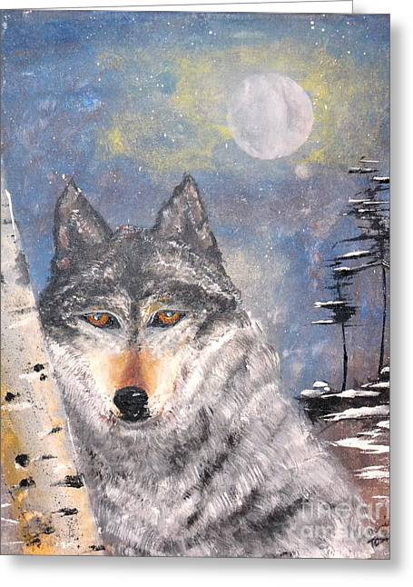 Greeting Card featuring the painting Winter Wolf by Denise Tomasura