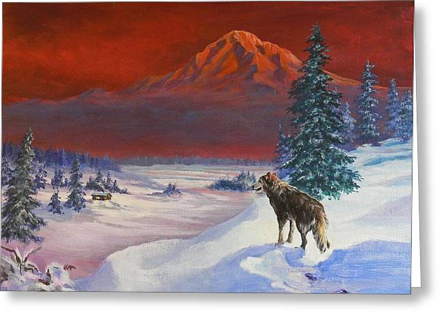Winter Wolf  Greeting Card by Gracia  Molloy