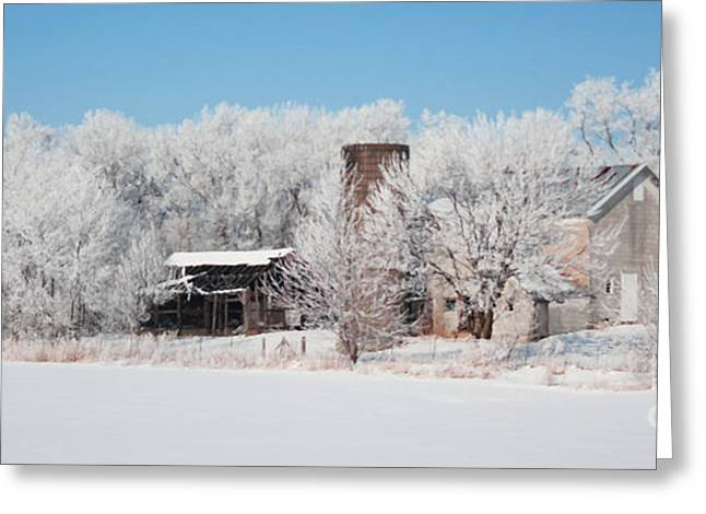 Winter Wonderland Farm Digital Painting Greeting Card