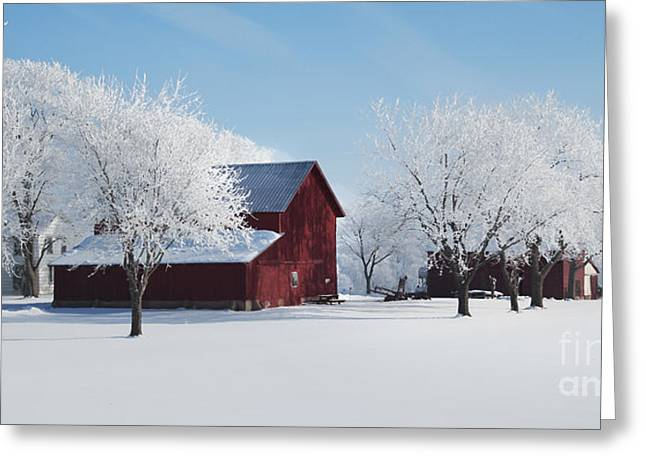 Winter Wonderland Red Barn Digital Painting Greeting Card