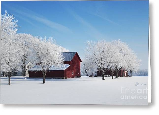 Winter Wonderland Red Barn Greeting Card