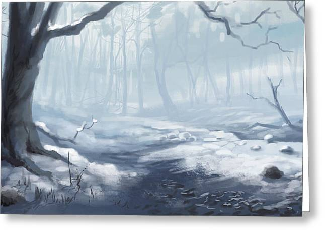 Greeting Card featuring the painting Winter Wood by Sean Seal