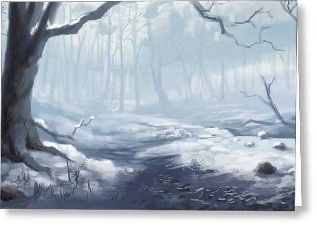Winter Wood Greeting Card by Sean Seal