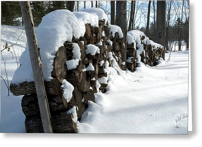 Winter Wood Supply Greeting Card by Jessie Parker