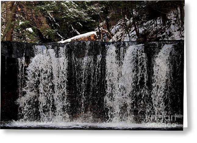 Winter Woodland Waterfall Greeting Card