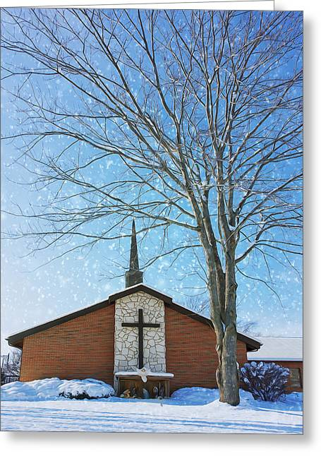 Winter Worship Greeting Card by Bill Tiepelman