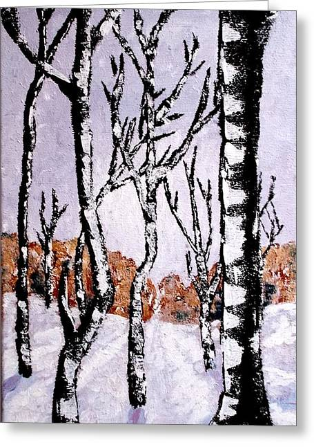 Greeting Card featuring the painting Winterforest by Zeke Nord