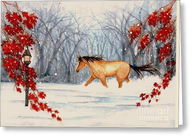 Winter's Eve Greeting Card by Janine Riley
