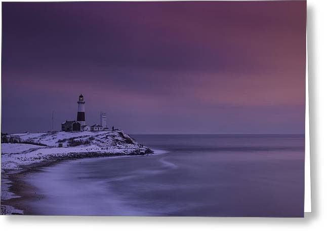 Winter's Glow At Montauk Point Greeting Card by Rick Berk