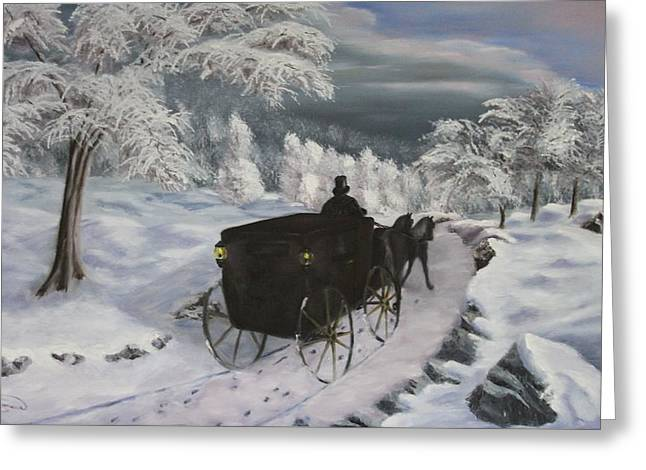 Winters Journey Greeting Card by Lou Magoncia