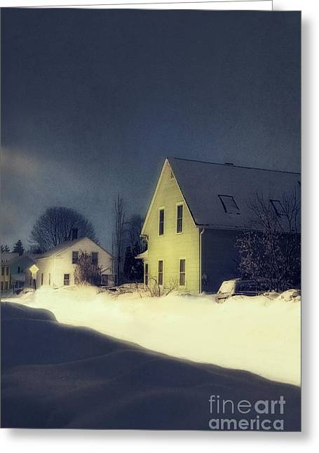 Snowy Night Greeting Card by HD Connelly