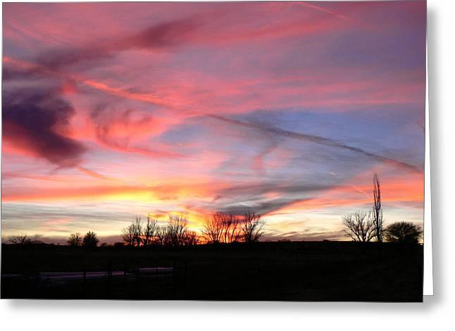 Winters' Sunset Rainbow Greeting Card by Cheryl Damschen