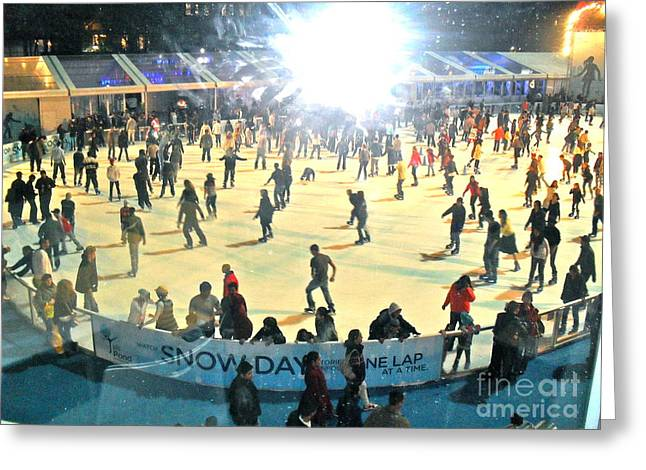 Wintertime In Bryant Park Greeting Card by Beth Saffer