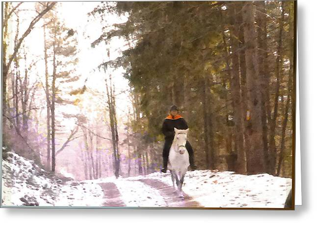 Wintertime Moment-the Chemistry Between Horse And Rider Greeting Card by Patricia Keller