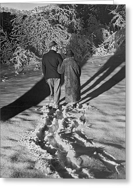 Wintertime Moonlight Stroll Greeting Card by Underwood Archives
