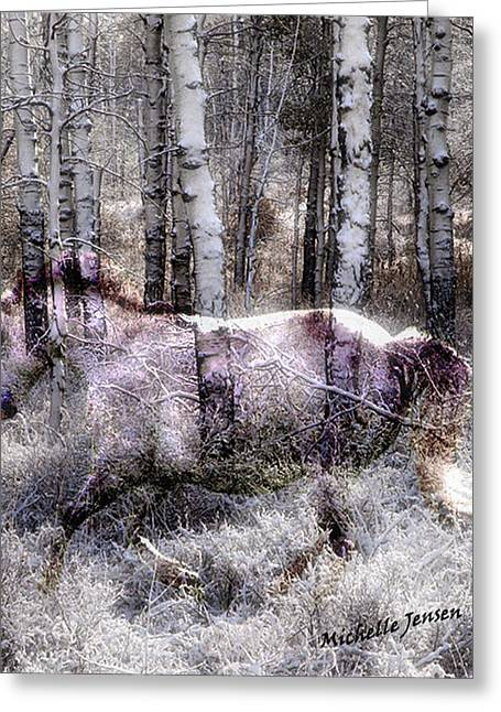 Wintery Ghost Horse Greeting Card by Wishes and Whims Originals By Michelle Jensen