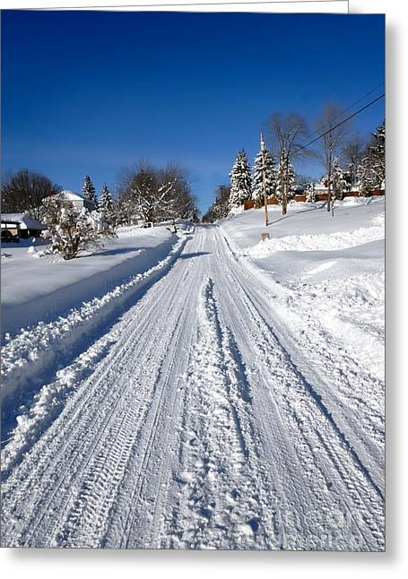 Wintery Road Greeting Card by Amy Cicconi
