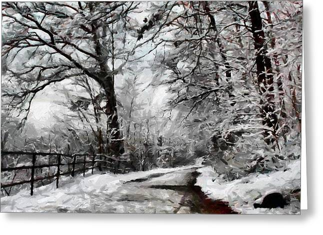 Greeting Card featuring the digital art Wintery Road by Kai Saarto