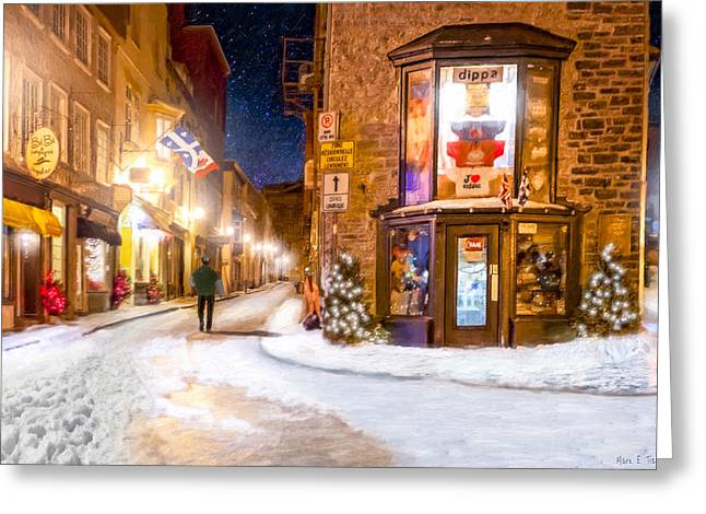 Wintery Streets Of Old Quebec At Night Greeting Card by Mark Tisdale