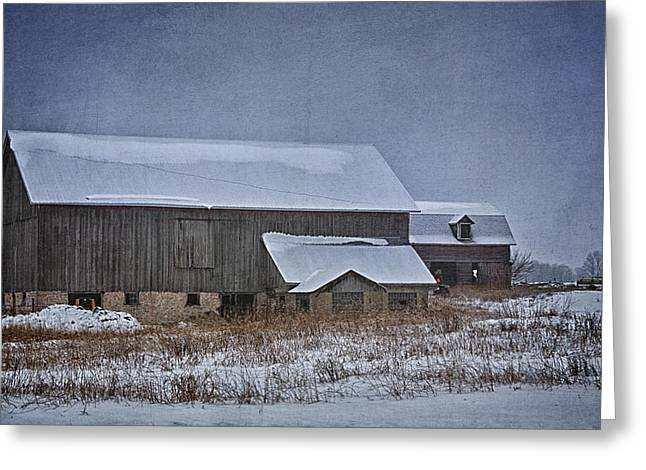 Wintry Barn Greeting Card by Joan Carroll