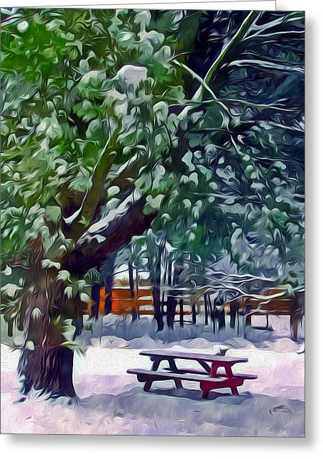 Wintry  Snowy Trees Greeting Card by Lanjee Chee