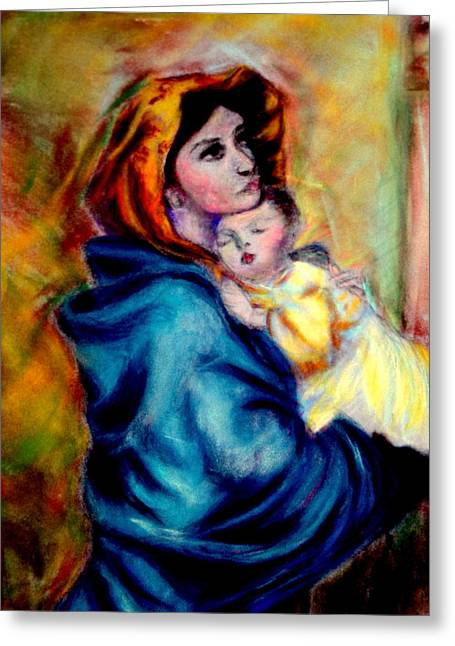 Mondonna Of The Street By Roberto Ferrizzi, Rendition In Pastel Antonia Citrino,  Sold.        Greeting Card