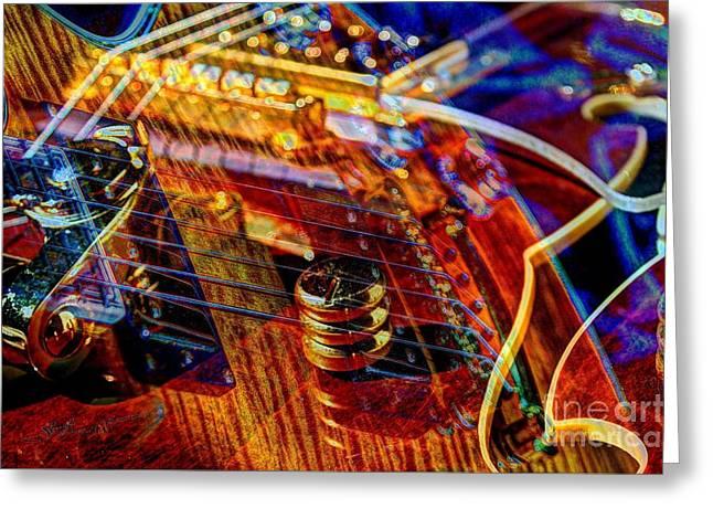 Wipe Out Digital Guitar Art By Steven Langston Greeting Card by Steven Lebron Langston