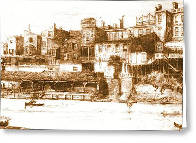Wire Bridge Hotel 1880 Greeting Card by Padre Art
