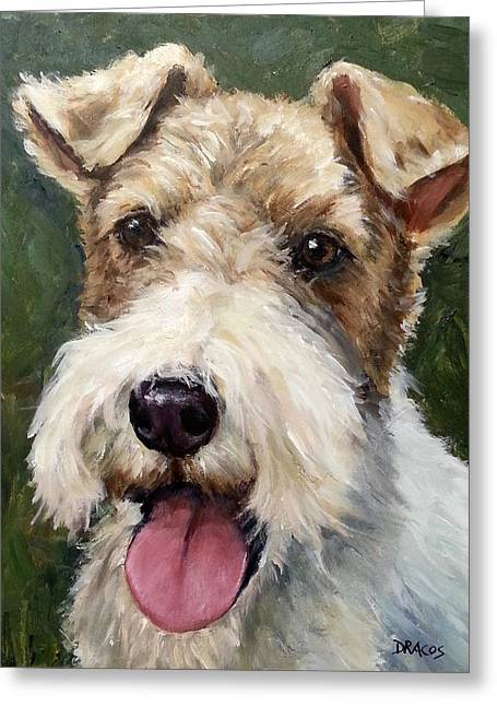 Wirehaired Fox Terrier On Green Greeting Card by Dottie Dracos