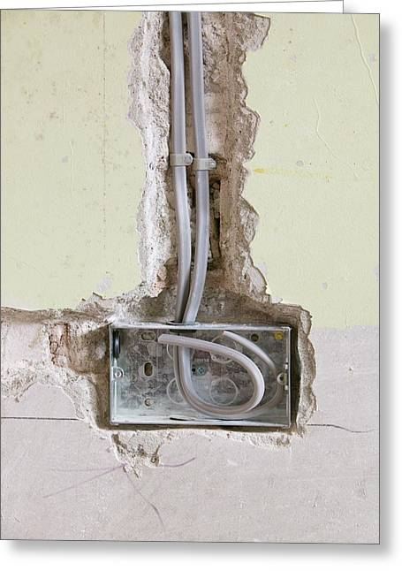 Wiring A Socket Into A House Wall Greeting Card